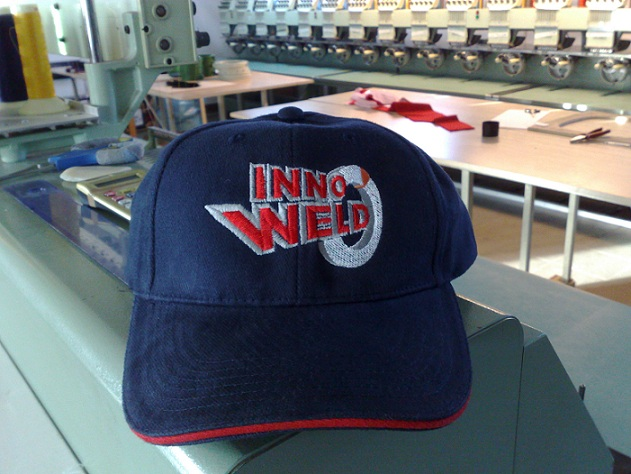 Computer embroidery with the logo on the cap