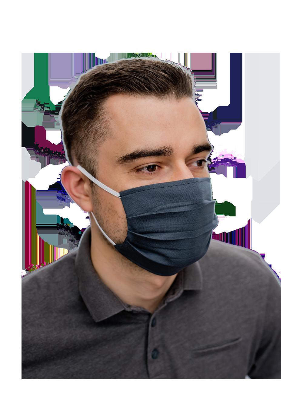 Atkārtoti lietojama kokvilnas mutes un deguna maska, grafīta pelēka